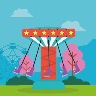 Parco divertimenti con altalene e ruota panoramica