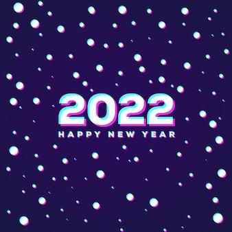 Effetto anaglifo 3d snow falling rivela felice anno nuovo 2022 sfondo minimo astratto
