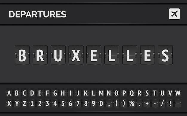 Lavagna a fogli mobili dell'aeroporto analogico con informazioni di volo della destinazione di partenza in europa: bruxelles con l'icona del segno di aeromobile e il carattere completo.