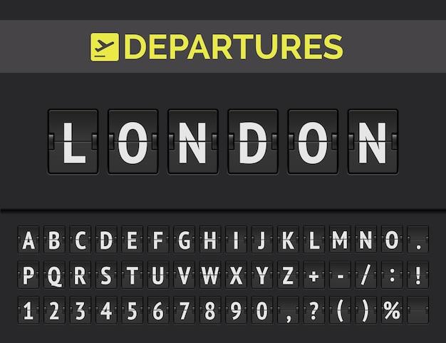 Lavagna analogica dell'aeroporto con informazioni sul volo della destinazione di partenza in europa: londra con icona del segno della compagnia aerea e carattere completo