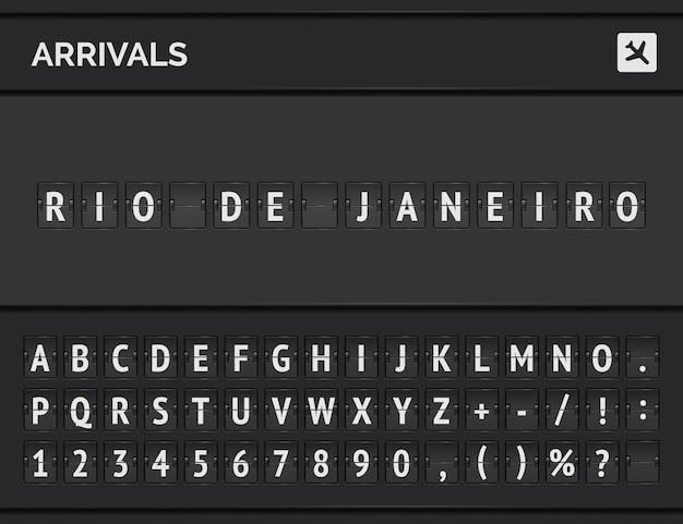 Tabellone segnapunti analogico dell'aeroporto con informazioni di volo della destinazione di arrivo in brasile: rio de janeiro con bordo dell'aereo e carattere del volo.
