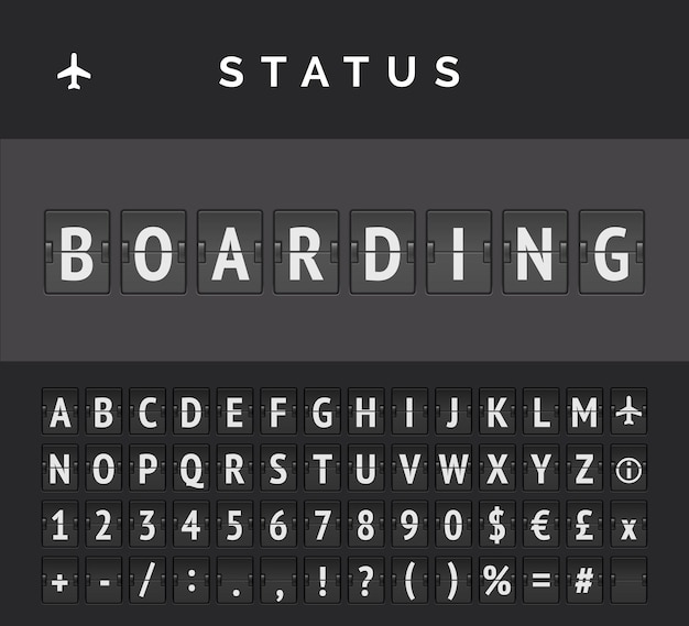 Orario della lavagna a fogli mobili analogica che mostra le informazioni sui voli aeroportuali dello stato di partenza: imbarco, con icona del segno dell'aeroplano e abc
