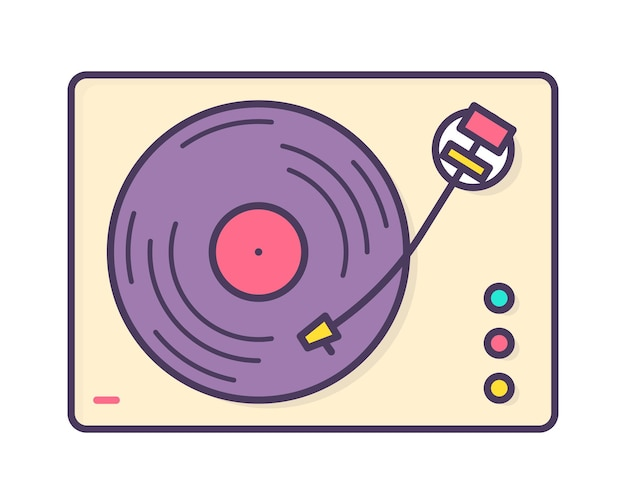 Lettore musicale analogico, registratore o giradischi che riproduce dischi in vinile isolati su sfondo bianco. dispositivo audio retrò o vecchio stile. illustrazione vettoriale dai colori vivaci in stile artistico linea creativa.