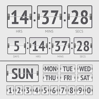 Timer settimanale digitale analogico del tabellone segnapunti. illustrazione vettoriale