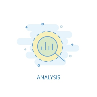 Concetto di linea di analisi. icona della linea semplice, illustrazione colorata. simbolo di analisi design piatto. può essere utilizzato per ui/ux