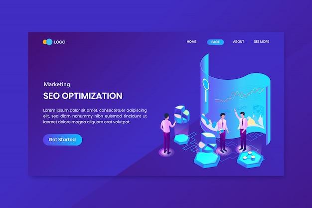 Pagina di destinazione del concetto isometrico di marketing di analisi seo