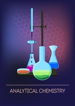 Chimica analitica con vetreria di laboratorio con reagenti.