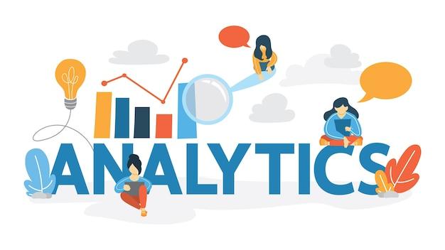 Analitica e concetto di analisi dei dati. idea di raccolta di informazioni da internet. tecnologia e statistica moderne. illustrazione