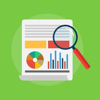 Analytics e analisi dei dati con grafici e tabelle. lente d'ingrandimento. illustrazione vettoriale di uno stile piatto su sfondo verde