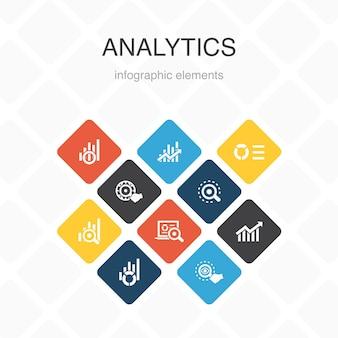 Analytics infografica 10 opzioni colore design.grafico lineare, ricerca web, tendenza, monitoraggio icone semplici