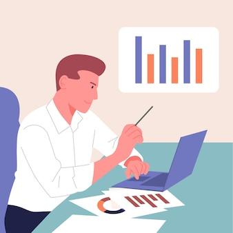 Analitica, statistica, pianificazione, concetto di partnership commerciale.