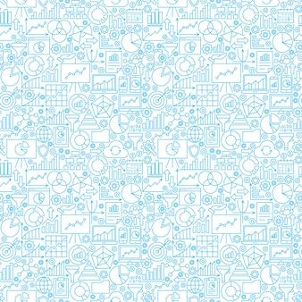 Modello senza cuciture bianco di analisi dei dati. illustrazione vettoriale di sfondo della linea di business.