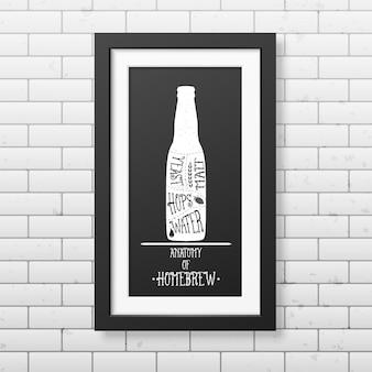 Anatomia della birra - sfondo tipografico in cornice nera quadrata realistica sullo sfondo del muro di mattoni. Vettore Premium