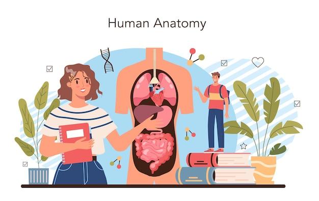 Materia scolastica di anatomia. studio dell'organo umano interno. anatomia e concetto di biologia. sistema del corpo umano. fegato e reni, cuore e stomaco. illustrazione vettoriale piatto isolato
