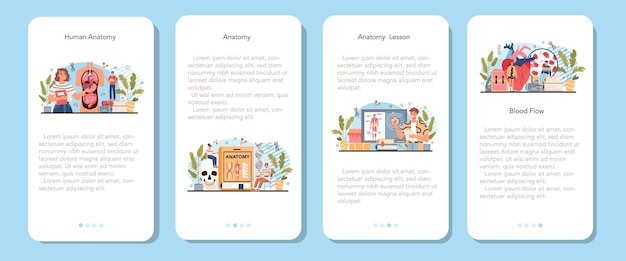 Set di banner per applicazioni mobili per materie scolastiche di anatomia umana interna