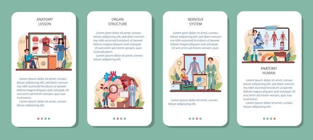 Set di banner per applicazioni mobili per materie scolastiche di anatomia. umano interno