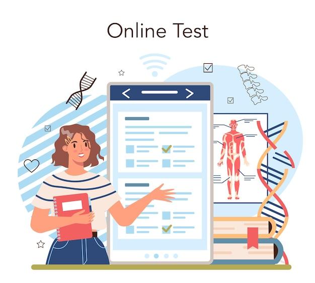 Servizio o piattaforma online di materie scolastiche di anatomia. umano interno