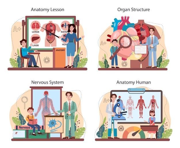 Set di materie scolastiche di anatomia. studio dell'organo umano interno. anatomia e concetto di biologia. sistemi del corpo umano. illustrazione vettoriale piatto isolato