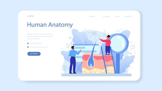 Modello web o pagina di destinazione della materia scolastica di anatomia.