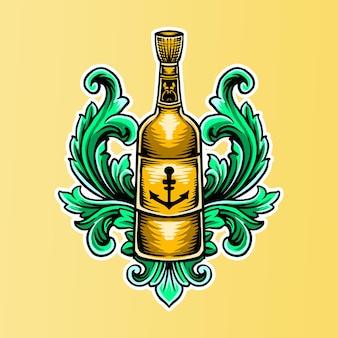 Illustrazione della bottiglia dell'ancoraggio con l'ornamento