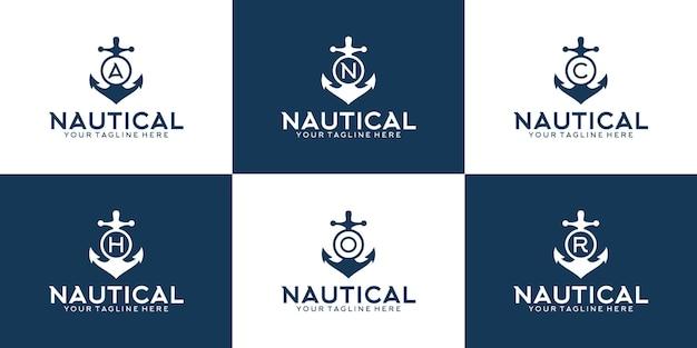 Set di ispirazione per il logo del design dell'ancora con le iniziali dell'ancora