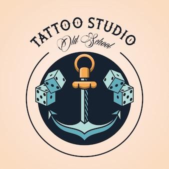 Logo dello studio del tatuaggio di ancoraggio e dadi