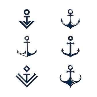 Icona di ancoraggio logo template illustrazione vettoriale