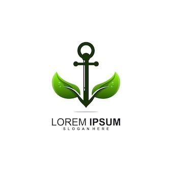 Design del logo della foglia di ancoraggio