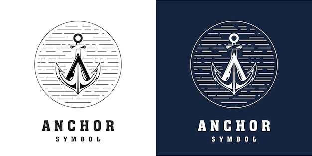 Combinazione di design del logo di ancoraggio con la lettera a