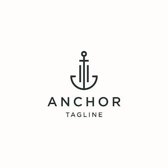Modello di disegno dell'icona del logo di ancoraggio vettore piatto