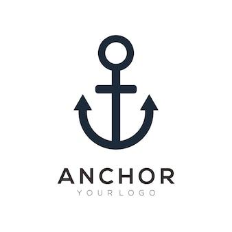 Modello di logo di ancoraggio Vettore Premium