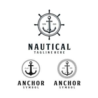 Ancora, design del logo nautico hipster retrò con ruota della nave e corda circolare
