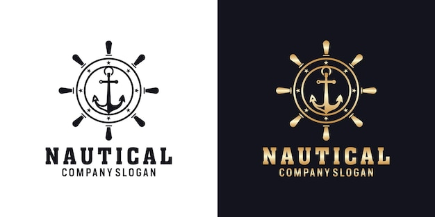 Ancora design del logo nautico retrò hipster con ruota di navi ships