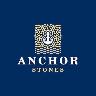 Modello di logo di ancoraggio e pietre
