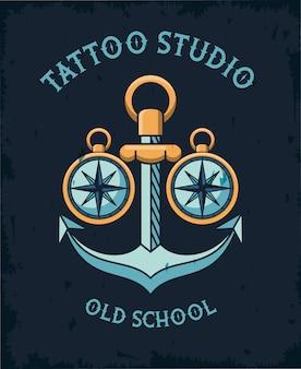 Logo dello studio del tatuaggio di ancoraggio