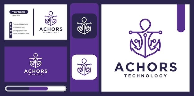 Modello di progettazione del logo della tecnologia di ancoraggio simbolo di ancoraggio marino marino di lusso