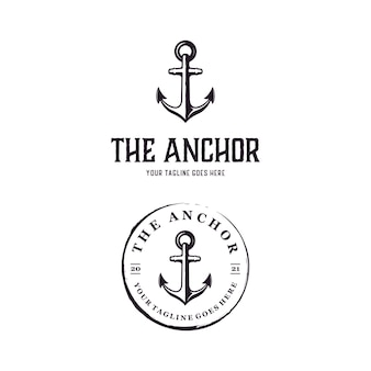 Modello di progettazione del logo del timbro rustico retrò vintage di ancoraggio