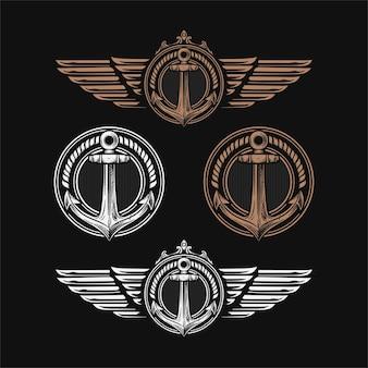 Illustrazione vettoriale dell'emblema dell'ancora e dell'ala