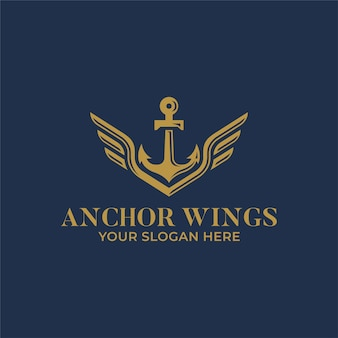 Anchor with wings logo design