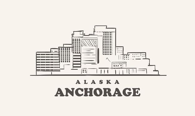Lo skyline di anchorage, alaska