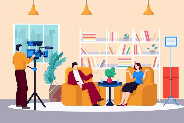 Anchorman parla con il personaggio della gente, giornalista giornalista fa domande all'illustrazione dello spettacolo