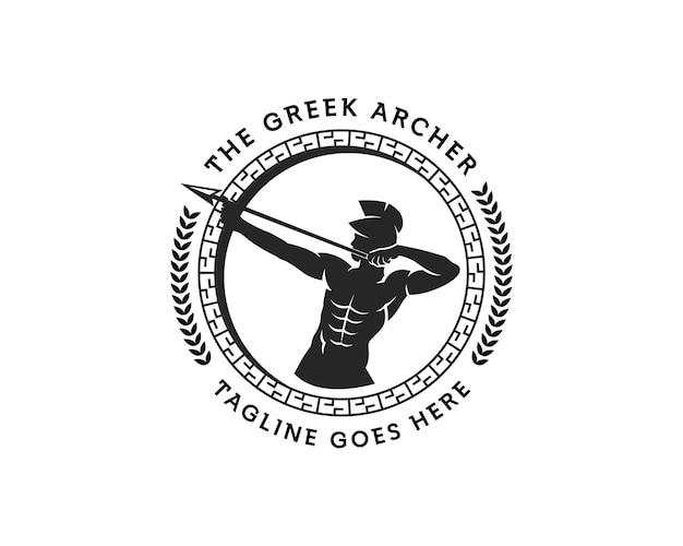 Logo dell'arciere antico il modello di progettazione del logo del dio apollo del logo del cerchio dell'arciere greco