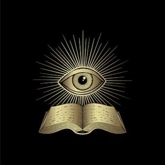 Libro antico ed occhio isolati sul nero