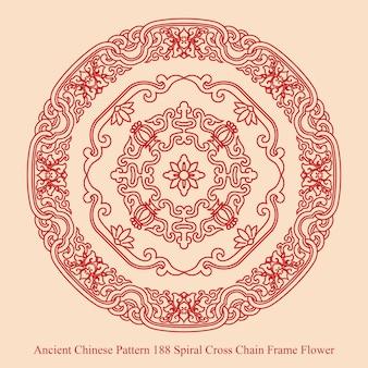 Modello cinese antico del fiore del telaio della catena della croce a spirale