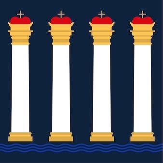 Reticolo senza giunte di colonne antiche. set di sagome di capitelli d'epoca classici illustrazione vettoriale
