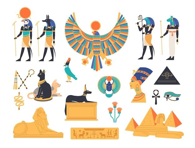 Collezione antico egitto - divinità, divinità e creature mitologiche della mitologia e religione egizia, animali sacri, simboli, architettura e scultura. illustrazione di vettore del fumetto piatto colorato.