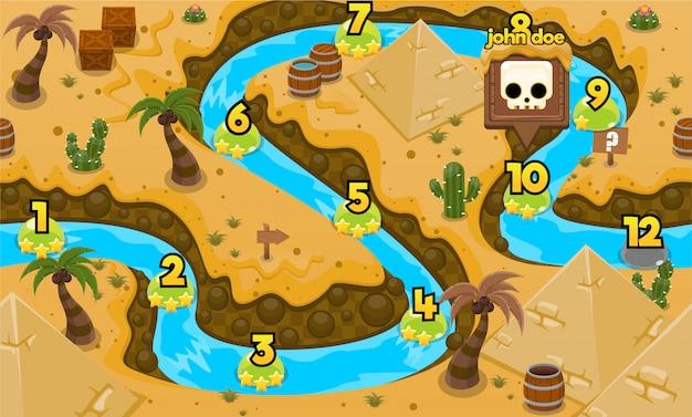 Mappa del livello di gioco dell'antico egitto