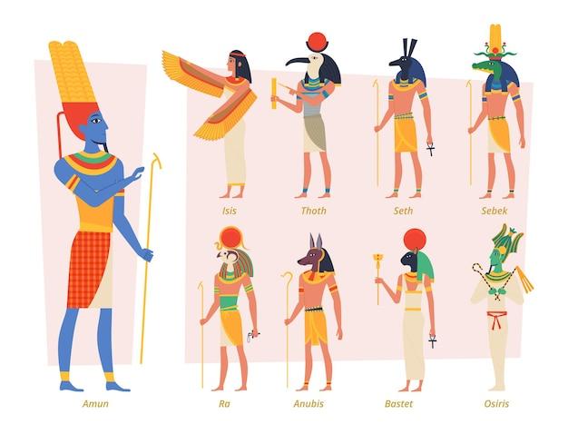 Dei dell'antico egitto. il popolo egiziano del faraone anubis osiris vettore autentici personaggi esatti. persone religiose, illustrazione della dea dell'egitto famoso dell'africa
