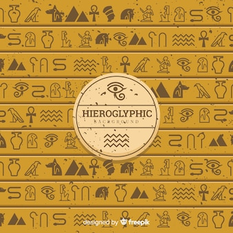 Sfondo di geroglifici antico egitto con design piatto