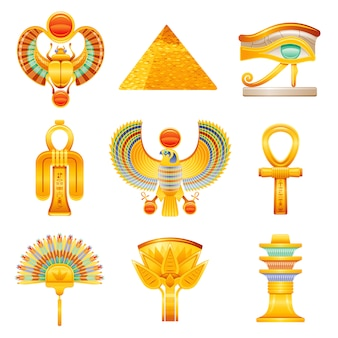 Set di icone dell'antico egitto. faraone egiziano simboli vettoriali. ra sun scarabeo, piramide, occhio di horus wadjet, nodo di iside tyet, falco, ankh, ventaglio, fiore di loto, colonna di osiride djed.